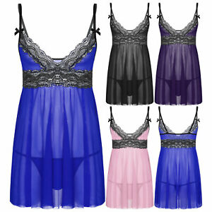 Men Sexy Sissy Lace Mesh Lingerie See Through Dress with T-back Briefs Nightwear