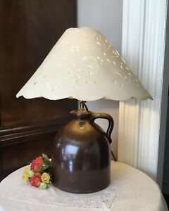 Table Lamp Pottery with Paper shade - from Priscilla Presley estate sale