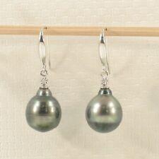 The Exotic Tahitian Pearl Hook Earrings14k White Solid Gold & 2 Diamonds TPJ