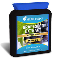 HerbalBioTech Organic GrapeSeed Extract 60 Capsules - 100% Pure No Fillers