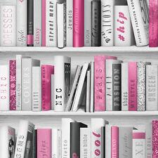 Mode Bibliothek Bücherschrank schwarz grau und Rosa Bücherregal Tapete 139501