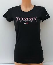 TOMMY JEANS Black Slim Fit Signature Logo Crew Neck Graphic Tee Size M BNWT