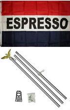 3x5 Advertising Espresso Red White Blue Flag Aluminum Pole Kit Set 3'x5'