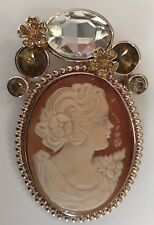 Amedeo Shell Cameo Medallion Pendant With Faux Jewels Rose Gold Tone