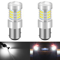2 x WHITE 28 LED 1157 BAY15D 380 P21/5W CAR STOP BRAKE TAIL LIGHT BULBS LAMP 12V