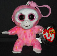 TY BEANIE BOOS BOO'S - RUBY the MONKEY KEY CLIP - MINT with MINT TAGS