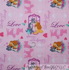 BonEful Fabric Cotton Quilt Pink Gray Disney Lady & the Tramp Dog Heart 99 SCRAP