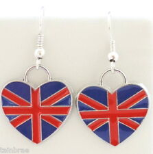 Enamel Union Flag I Union Jack Flag Heart Earrings