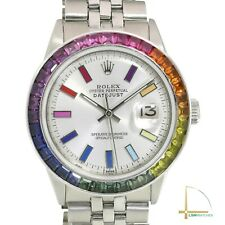 Rolex Datejust Unisex Watch Silver Rainbow Dial & Bezel Jubilee Band 36mm