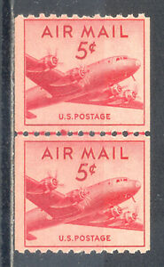 US Stamp (L2054) Scott# C37, Mint NH OG, Nice Coil Line Pair, Air Mail