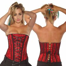 Red Basque Lattice Front Corset New Sexy Moulin Rouge Burlesque Extra Large XL