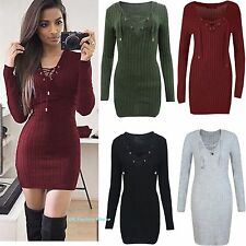 Womens Lace Up Knitted Bodycon Jumper Dress Winter Ladies Bodycon Party Dresses