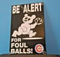 VINTAGE CUBS PORCELAIN MLB SERVICE BASEBALL FIELD CHICAGO WRIGLEY STADIUM SIGN