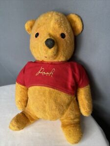 """ANTIQUE 60s WINNIE THE POOH Rubber STUFFED PLUSH TEDDY BEAR 15"""" Vintage Red"""
