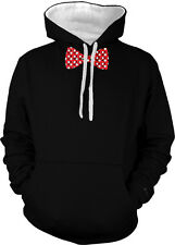 Polka Dot White And Red Bowtie  2-tone Hoodie Pullover