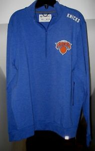 NEW YORK KNICKS NBA '47 BRAND FORWARD 1/4-ZIP FRENCH TERRY BLUE SWEATSHIRT NWT