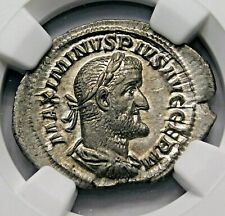 NGC Ch AU. Maximinus I. Exquisite Denarius. Ancient Roman Silver Coin.