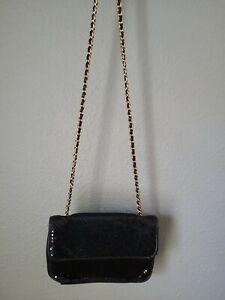Whiting & Davis Black Metal Mesh Crossbody Purse Bag Gold Chain Strap