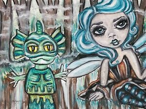 Swamp Faery Swamp Creature 5 x 7 Art Print fairy Gothic Goth Fantasy Signed