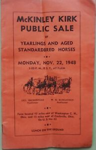 1948 HISTORIC McKINLEY KIRK's HARNESS HORSE YEARLING & BROODMARE AUCTION CATALOG