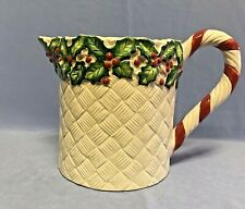 FITZ AND FLOYD OLD WORLD CHRISTMAS HOLLY 48 oz PITCHER - 1989