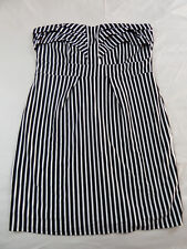 City Chic L 20 Black White Vertical Striped Sweetheart Neckline