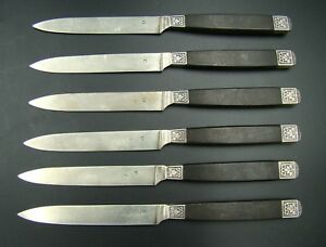 French Sterling Silver Ebony Handle 6 Lunch Knives Gustave Leroy & Cie, ca 1890