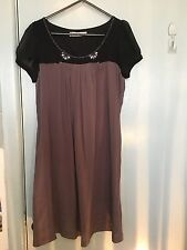 Shyde black and brown silk dress with beading in size 0