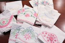 Vintage Embroidered 14 Pillowcases Lot Pinks Flowers Southern Belle Crochet Trim