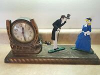 Antique Sessions Cast Metal Western Horse Mantle Clock Victorian Couple FOR PART