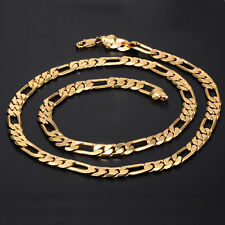 New Vintage Womens Mens Yellow Gold Filled Figaro Curb Chain Necklace 24''