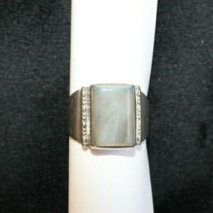 Vintage Sterling Silver Gray Agate Men's Ring Size 11