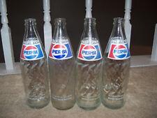 Lot of 4 Vintage PEPSI COLA Soda Pop Bottles Glass 16.9oz Blue Label Half Liter