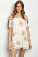 Women Ivory Peach Floral Boho Relaxed Off Shoulder Tunic Dress Top Blouse Summer