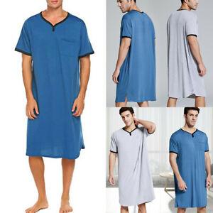 Men Short Sleeve Sleepwear Nightwear Soft Comfort Long Sleep Shirt Dress Lounge