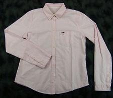NWT Hollister Womens Long Sleeve Button Front Dress Shirt Pink White Stripe sz L