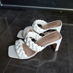 BCBG Generation White Slip Sandal Pumps Braided Finaa Slide Size 9 square toe