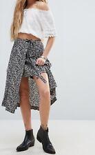 FREE PEOPLE Love Train Wrap Skirt, Black & White, Sz US2/AU 4 NWOT [RRP $178]