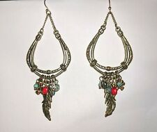 Lucky Brand Silver Feather Turquoise Teardrop Charm Dangle Earrings Hippie Boho