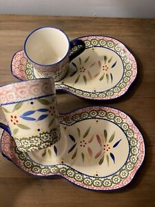 Temp-tations Mug Cup Saucer Plate Cookie Snack Tray Pastel Set Of 2, 4 Pieces