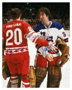 1980 Lake Placid Winter Olympics Jim Craig Vladislav Tretiak Color 8 X 10 Photo