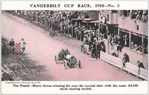 Antique Postcard: 1910 Vanderbilt Cup Race No. 3 Finish