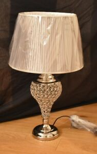 Mirrored Glass Decor Moroccan Table Lamp with silver round shade- Home Decor