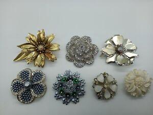 Bundle x7 Flower Shape Brooches Mixed Chunky Rhinestones Silver Tone Gold Tone