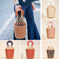 Lady Fish Net Bucket Bag Handbag Fuax Leather Beach Mesh Straw Bag Flowerpot Bag