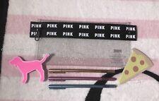 Victoria's Secret Pink Glitter Pencil Case PINK Pens Dog & Pizza Sticky Note Set