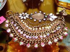 Betsey Johnson RARE Bracelet PINK ROSEBUD Floral MULTI CHAIN Crystal STATEMENT