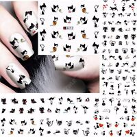Nail Art Water Decals Stickers Love Hearts Cats Paw Prints Gel Polish