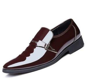 Mens Patent Leather Business Wedding Dress Formal Shoes Pointy Toe Casual PLUS