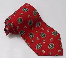 Mens CHRISTIAN DIOR 100% Silk Necktie Tie Red Paisley Foulard Design USA